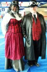 In their finest red & black Steampunk attire
