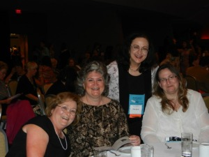 Charlee (far right) with writer friends at the Awards Dinner.