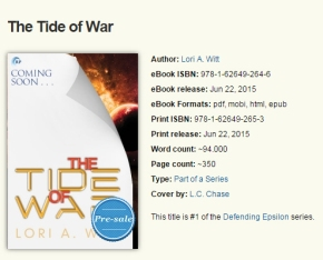 Cover Reveal – The Tide of War by Lori A. Witt
